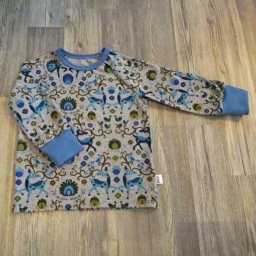 paita beige sininen peura kauris